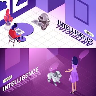 Banners isométricos de inteligência artificial