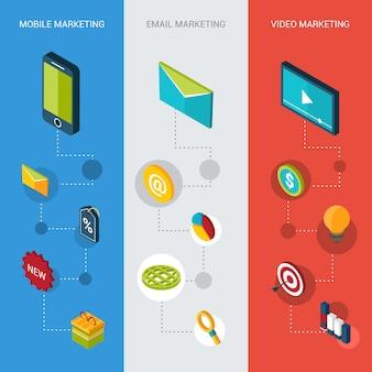 Banners isométricos de marketing
