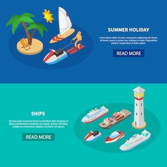Banners isométricos de navios
