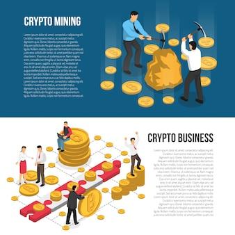 Banners isométricos de negócios de mineração de criptomoeda