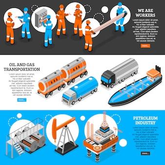Banners isométricos de óleo