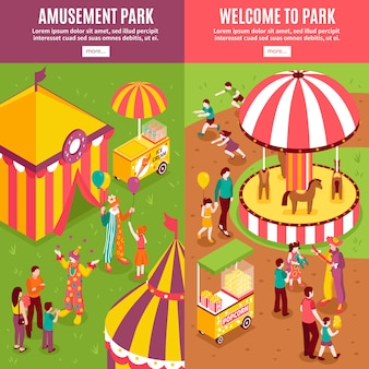 Banners isométricos de parque de diversões