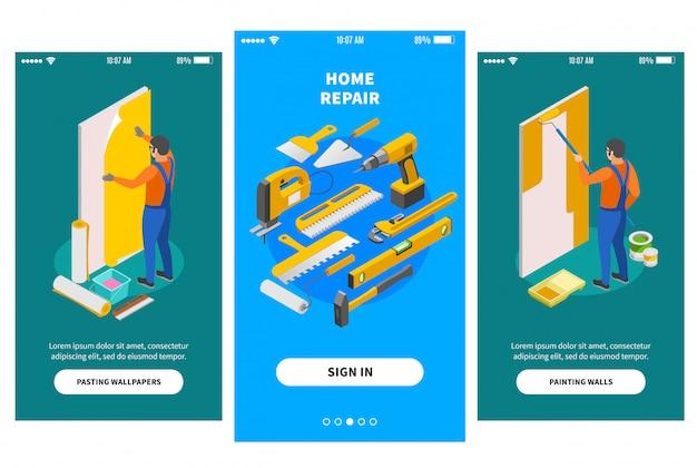 Banners isométricos de reparo em casa para design de aplicativos móveis, oferecendo às empresas envolvidas na ilustração de trabalhos de reparação