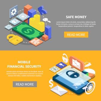 Banners isométricos de segurança financeira