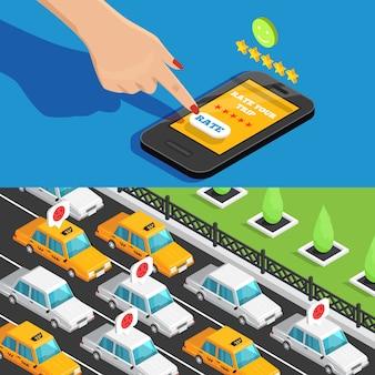 Banners isométricos de serviço de táxi de aplicativo móvel