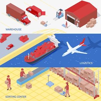 Banners isométricos de serviços de logística