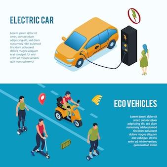 Banners isométricos de transporte ecologicamente corretos