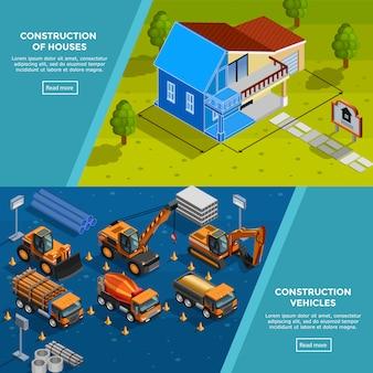 Banners isométricos de veículos de construção