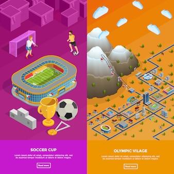 Banners isométricos de vila olímpica do estádio de futebol