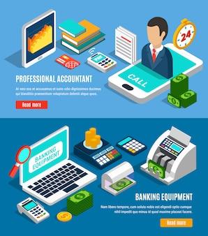 Banners isométricos horizontais bancários