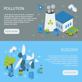 Banners isométricos horizontais de ecologia