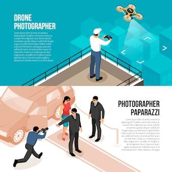 Banners isométricos horizontais de fotógrafo profissional com tecnologia de drone com controle remoto e ilustração em vetor paparazzi celebridade