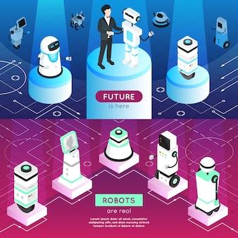 Banners isométricos horizontais de robôs