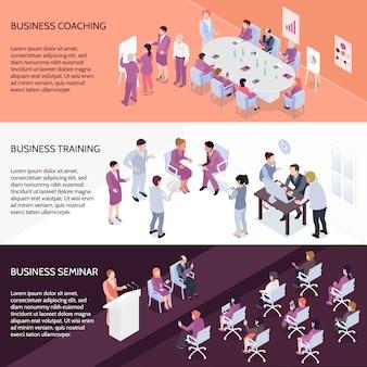Banners isométricos horizontais de treinamento de negócios