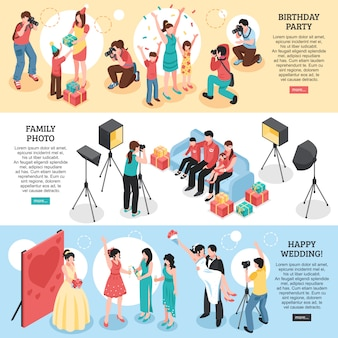 Banners isométricos horizontais do fotógrafo profissional com retrato feliz da família da festa de aniversário casamento