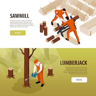 Banners isométricos para carpintaria em serraria com texto de botões clicáveis e composições de trabalhadores e madeira