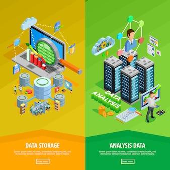 Banners isométricos verticais de análise de dados