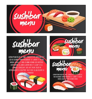 Banners japoneses para design de frutos do mar sushi bar