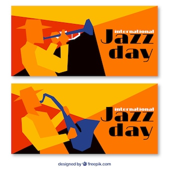 Banners jazz geométricas coloridas