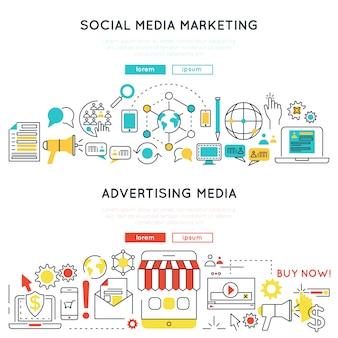 Banners lineares horizontais de marketing digital