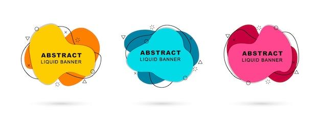 Banners líquidos abstratos com formas geométricas modernas.