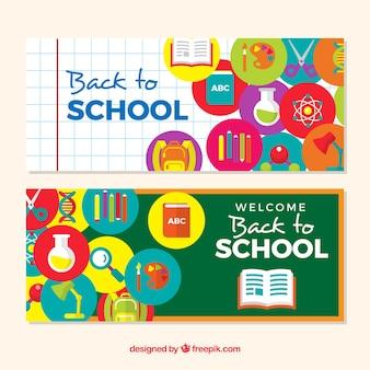 Banners lisos de volta à escola com ícones