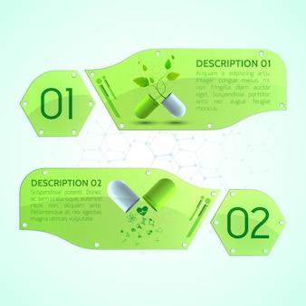 Banners médicos com cápsulas medicinais, folheto informativo e diferentes objetos médicos