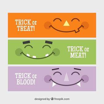 Banners minimalistas com sorrisos dos monstros