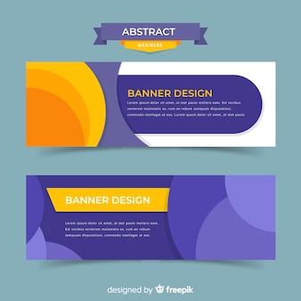Banners modernos com formas abstratas