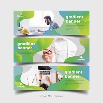 Banners modernos com formas de gradientes verdes