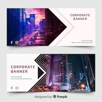 Banners modernos com foto de horizonte