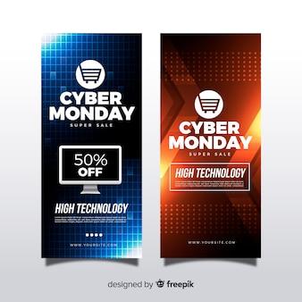 Banners modernos de cyber segunda-feira com design realista
