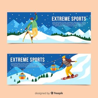 Banners modernos de esportes de inverno
