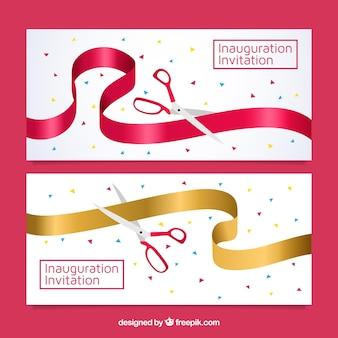 Banners modernos de festa de abertura com tesoura