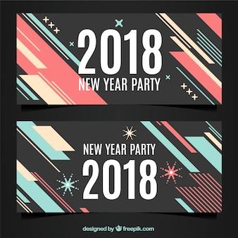 Banners modernos do ano novo de 2018