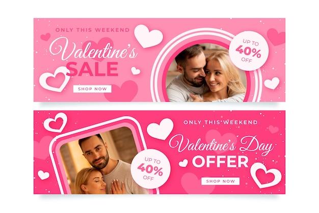 Banners modernos do dia dos namorados com conjunto de fotos
