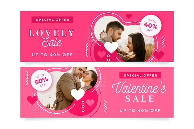 Banners modernos do dia dos namorados com pacote de fotos