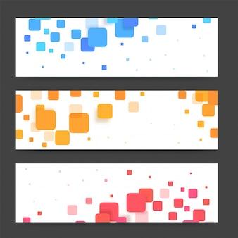 Banners modernos ou cabeçalhos com quadrados coloridos. banners vetoriais prontos para o seu texto ou design.