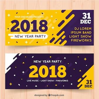 Banners modernos para o ano novo de 2018