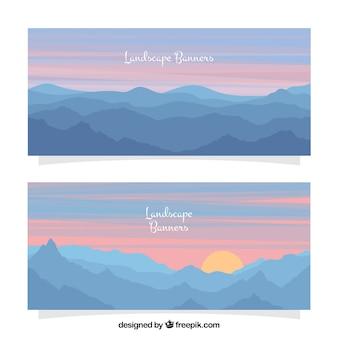 Banners montanha paisagem ao entardecer