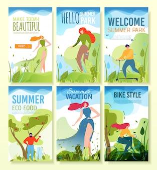 Banners móveis com saudação de verão, convite.