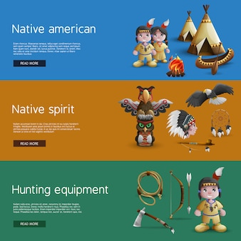 Banners nativos americanos com atributos nacionais