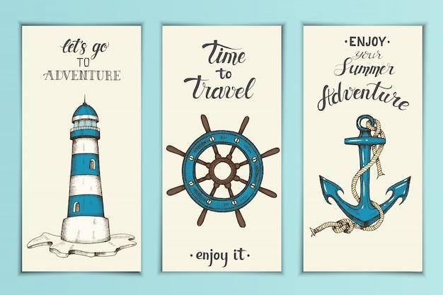 Banners náuticos vintage com âncora de vetor de mão desenhada,