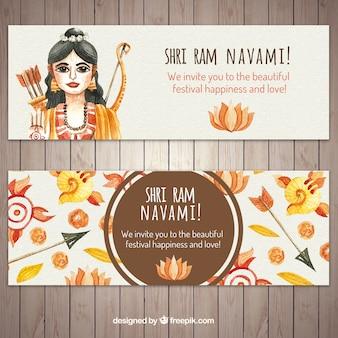 Banners navami ram watercolor