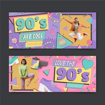 Banners nostálgicos desenhados à mão dos anos 90 com foto