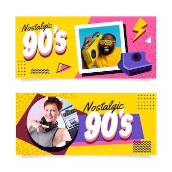 Banners nostálgicos dos anos 90 com design plano