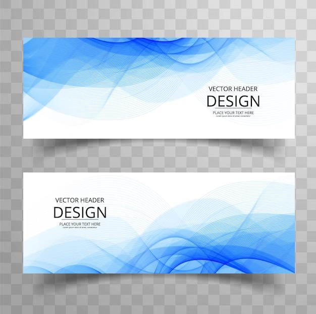 Banners ondulados azuis