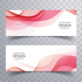 Banners ondulados rosa