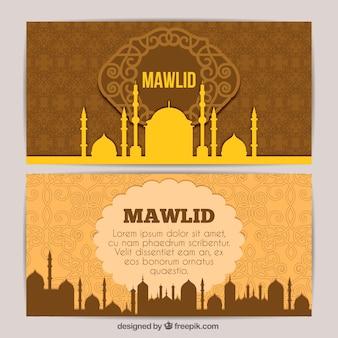 Banners ornamentais de mawlid mesquita