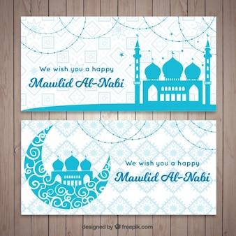 Banners ornamentais mawlid de mesquitas